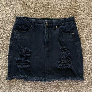 Black Denim Ripped & Distressed Jean Mini Skirt